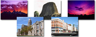 Wyoming State collage of images.