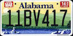 Official Alabama state license plate.