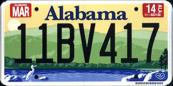 Official Alabama state license.