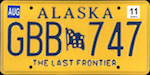 Official licens plate of Alaska state.