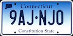 Official licens plate of Connecticut state.