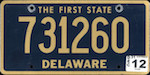 Official Delaware state license plate.