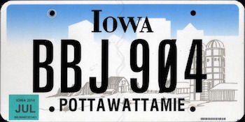 Official Iowa state license.