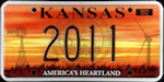 Official licens plate of Kansas state.