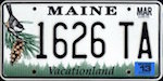 Official licens plate of Maine state.