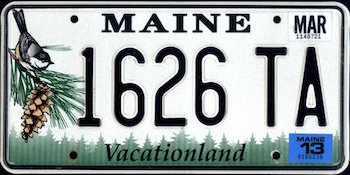 Official Maine state license.