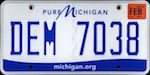 Official licens plate of Michigan state.