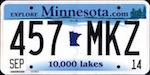Official Minnesota state license plate.