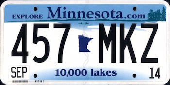 Official Minnesota state license.