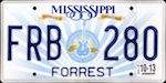 Official Mississippi state license plate.