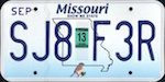 Official licens plate of Missouri state.