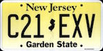 Official licens plate of New Jersey state.