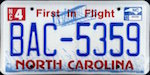 Official North Carolina state license plate.