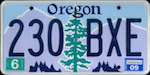 Official Oregon state license plate.