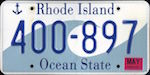 Official Rhode Island state license plate.