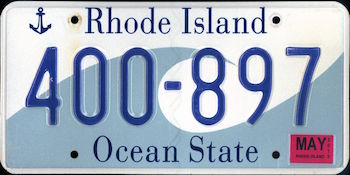 The official Rhode Island state license plate.