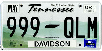 Official Tennessee state license.