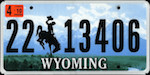 Official licens plate of Wyoming state.