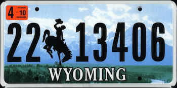 Official Wyoming state license.