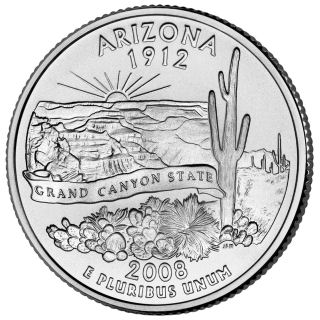 Reverse coin side (tails) of the Arizona quarter.