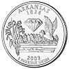 Commemorative state quarter of Arkansas.