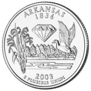 Reverse coin side (tails) of the Arkansas quarter.