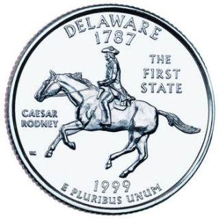 Reverse coin side (tails) of the Delaware quarter.