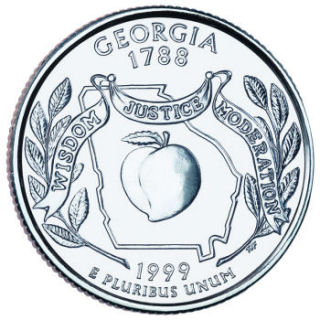 Reverse coin side (tails) of the Georgia quarter.