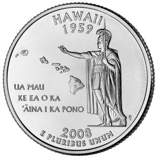 Reverse coin side (tails) of the Hawaii quarter.