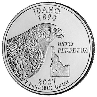 Reverse coin side (tails) of the Idaho quarter.