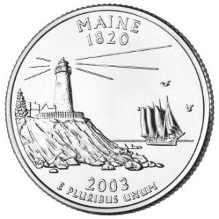 Reverse coin side (tails) of the Maine quarter.