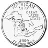 Commemorative state quarter of Michigan.