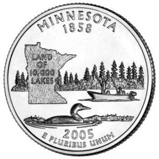 Reverse coin side (tails) of the Minnesota quarter.
