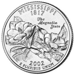 Reverse coin side (tails) of the Mississippi quarter.