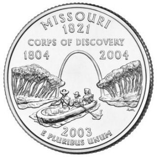 Reverse coin side (tails) of the Missouri quarter.