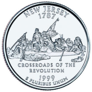 Reverse coin side (tails) of the New Jersey quarter.