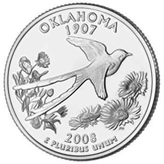 Reverse coin side (tails) of the Oklahoma quarter.