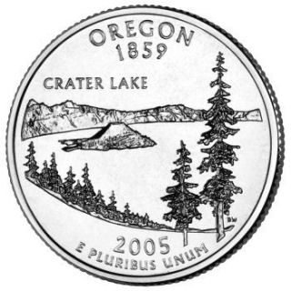 Reverse coin side (tails) of the Oregon quarter.