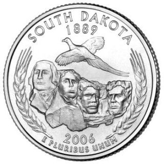 Reverse coin side (tails) of the South Dakota quarter.