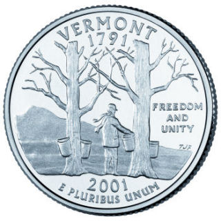 Reverse coin side (tails) of the Vermont quarter.