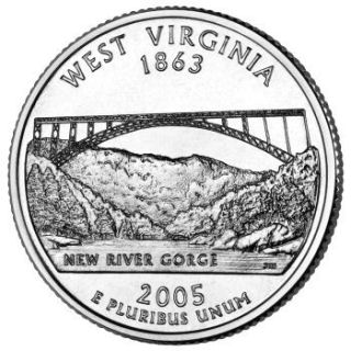 Reverse coin side (tails) of the West Virginia quarter.