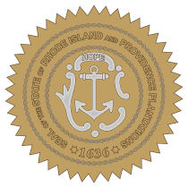 Official Rhode Island state seal.