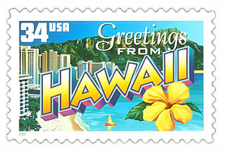 34 cent Hawaii state stamp.