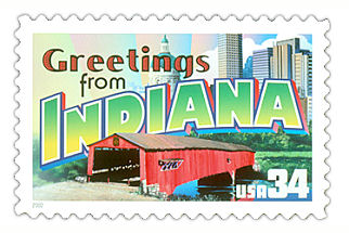 34 cent Indiana state stamp.