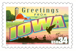 Official Iowa state stamp.