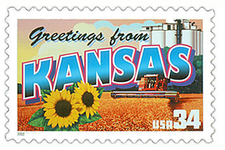 34 cent Kansas state stamp.