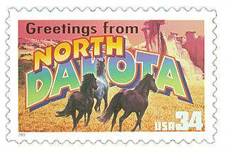 Official North Dakota state stamp.