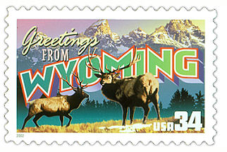 34 cent Wyoming state stamp.